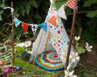 Star Teepee set Fairy Garden Miniature Garden Fairy Banner Fairy Rug Fae Garden
