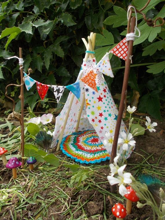 Star Teepee Set Fairy Garden Miniature Garden Fairy Banner | Etsy