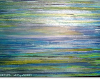 Acrylic Painting Abstract Canvas Art CONTEMPORARY ART ORIGINAL Large Abstract Landscape Blue Green Turquoise White Painting 40x28 100x70cm