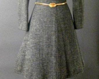 1960s WOOL Herringbone Black White Long Sleeve Circle Dress Size Small 4