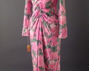 1960s Vintage Robert David Morton Maxi Long Dress PINK Floral Print Bergdorf Goodman Deadstock Tags Sz 4 Small