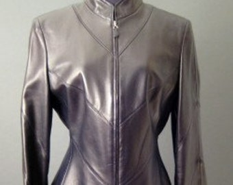 ESCADA Black LEATHER Fitted Jacket coat Size 6 smooth lammnappa