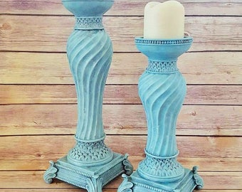 Turquoise Ornate Candle Holders | French Country Candle Holders | Farmhouse Candle Holders | Acanthus Leaves |  READY TO SHIP