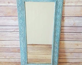 Ornate Framed Wall Mirror   Turquoise Ornate Framed Mirror   French Country Mirror   Vintage Wall Mirror   French Country Home Decor