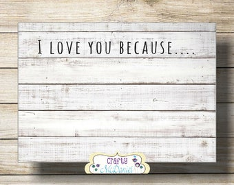 image regarding I Love You Because Printable called I delight in your self given that Etsy