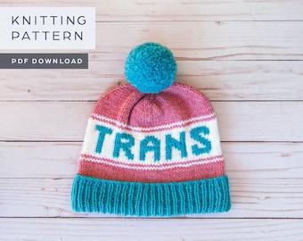 Trans Pride Hat | Knitting Pattern | PDF download