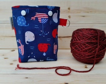 Cute Patriotic Whales Ball Sack for up to DK Weight -- Yarn Holder for Inside Project Bags Handmade