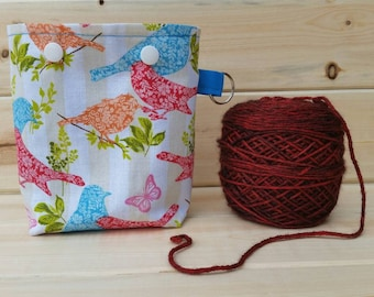 Colorful Birds Ball Sack for up to DK Weight -- Yarn Holder for Inside Project Bags Handmade
