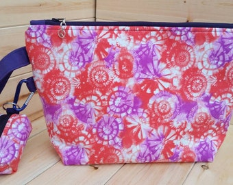 Purple & Orange Tie Dye Medium Project Bag with Matching Notions Pouch Handmade