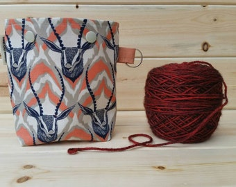 Gazelle Antelope Cotton+Steel Ball Sack for up to DK Weight -- Yarn Holder for Inside Project Bags Handmade