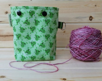 Glitter Frogs Ball Sack for up to DK Weight -- Yarn Holder for Inside Project Bags Handmade