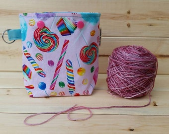 Sweet Treats Ball Sack for up to DK Weight -- Yarn Holder for Inside Project Bags Handmade