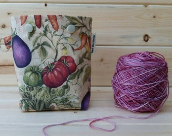 Vegetables Ball Sack for up to DK Weight -- Yarn Holder for Inside Project Bags Handmade