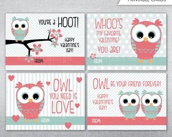 Owl Valentine Card Etsy