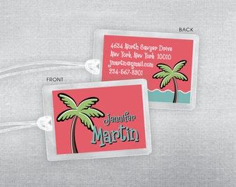 Palm tree luggage tag. Beach bag tag.