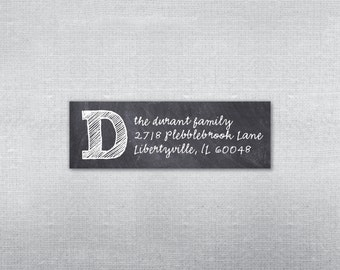 Boland Design Paper Co. Chalkboard address label. Return address label. Self-adhesive address label. Address sticker.