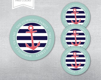 Nautical address label. Self-adhesive address label. Address sticker.