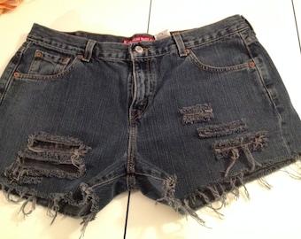 Levis Size 14 Misses Custom Cut-off Shorts/Denim/Dark/Cut-offs/Ripped/Distressed/Festival/Shorts