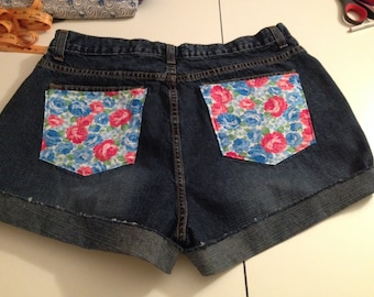 Floral pocket Size 16 dark denim Custom Rolled Cuff Cut-off Shorts
