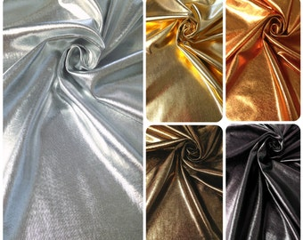 a3351b6e6adad Metallic Shiny All Over Foil on Stretch Lightweight Knit Jersey Polyester  Spandex Fabric - 58 to 60 Inches Wide - By the Yard or Bulk