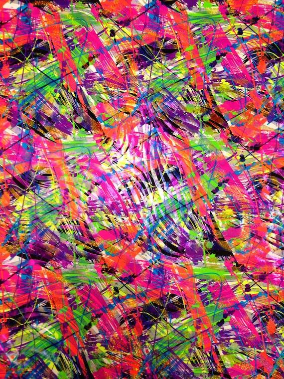 Purple /& Fuchsia Tribal Print w// Shiny Gold Foil on Stretch Nylon Spandex Fabric