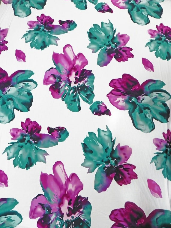 Floral Pattern on Black Stretch ITY Knit Jersey Polyester Spandex Fabric