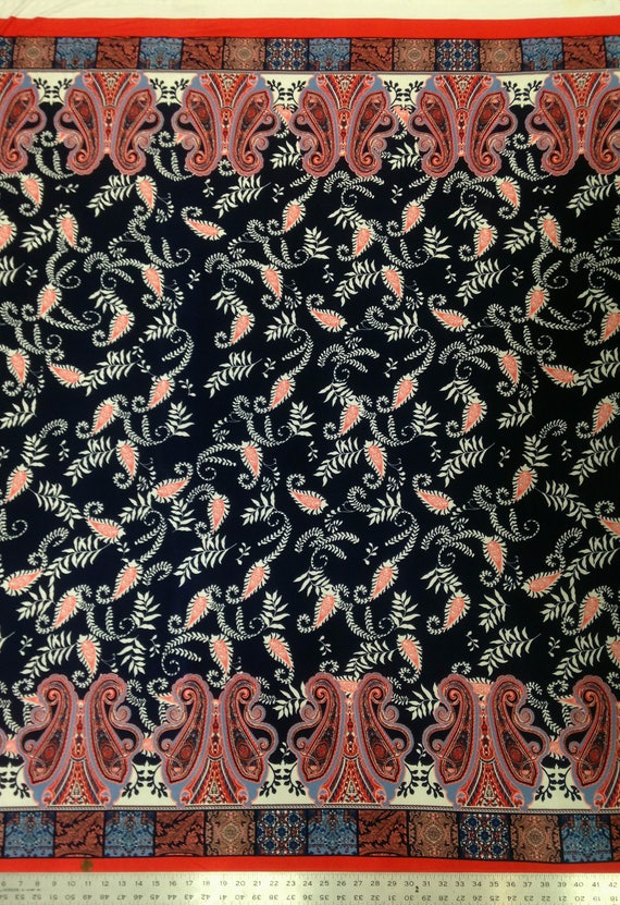 Retro Paisley Pattern on Dark Navy Stretch Knit Jersey Polyester Spandex Fabric