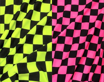 Bright Neon Checker Squares Pattern on Stretch Polyester Spandex Fabric - 58 to 60 Inches Wide - By the Yard or Bulk
