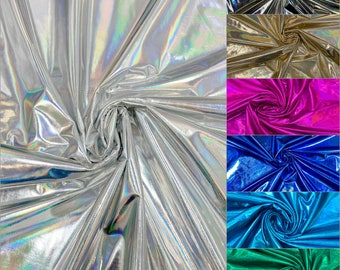 Holographic Metallic Foil on 2 ways Stretch Polyester Spandex Jersey Knit Fabric