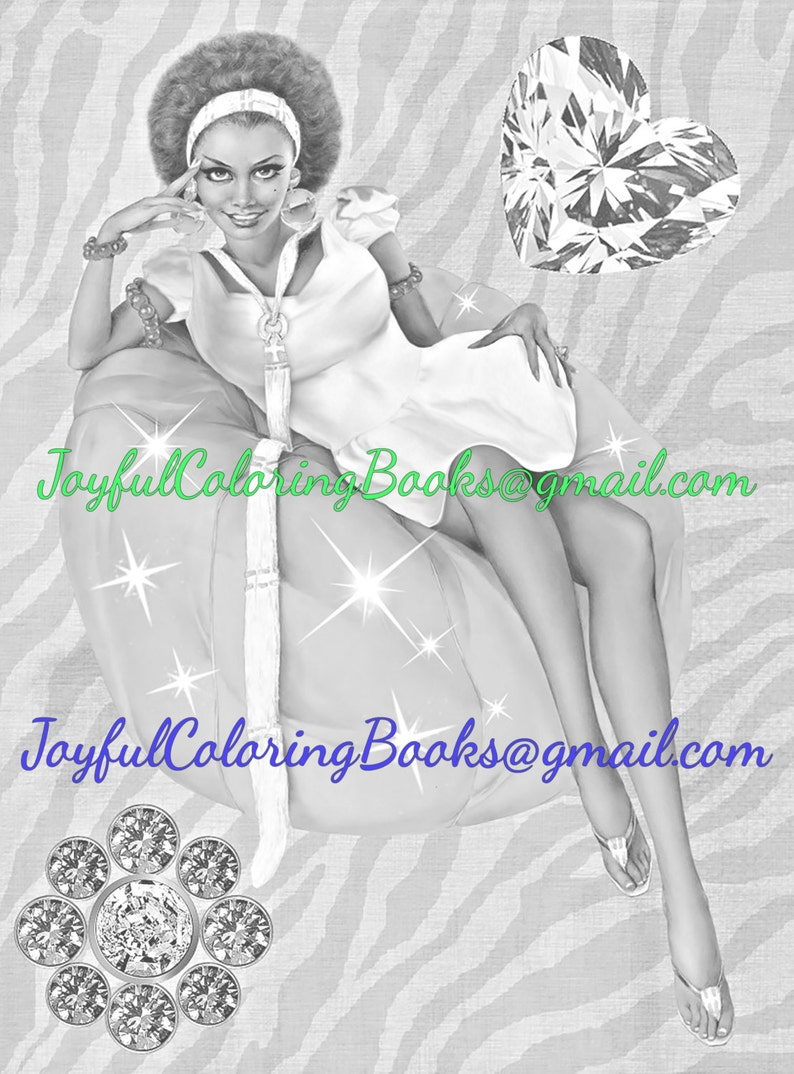 African American Grayscale Coloring Book 5 Pages Retro Fantasy Pin Up Girls