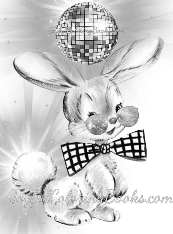 Ostern Hase Disco-Kugel Tänzerin Graustufen Färbung Seiten