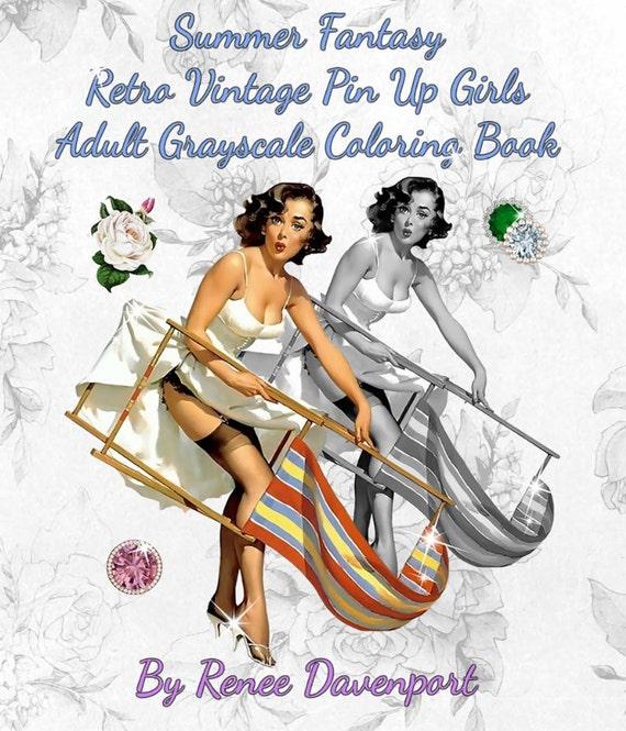 Adult Coloring Book Digital PDF Summer Fantasy Retro Vintage Etsy