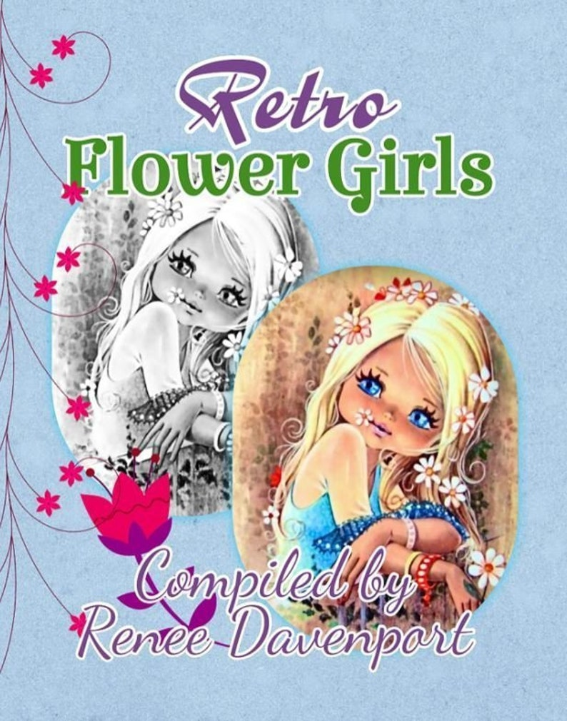 Grayscale Adult Coloring Book Retro Flower Girls Grayscale Adult Coloring  Book