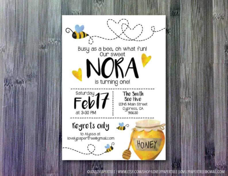 KB59 Bee Birthday Invitation Bee Invitation