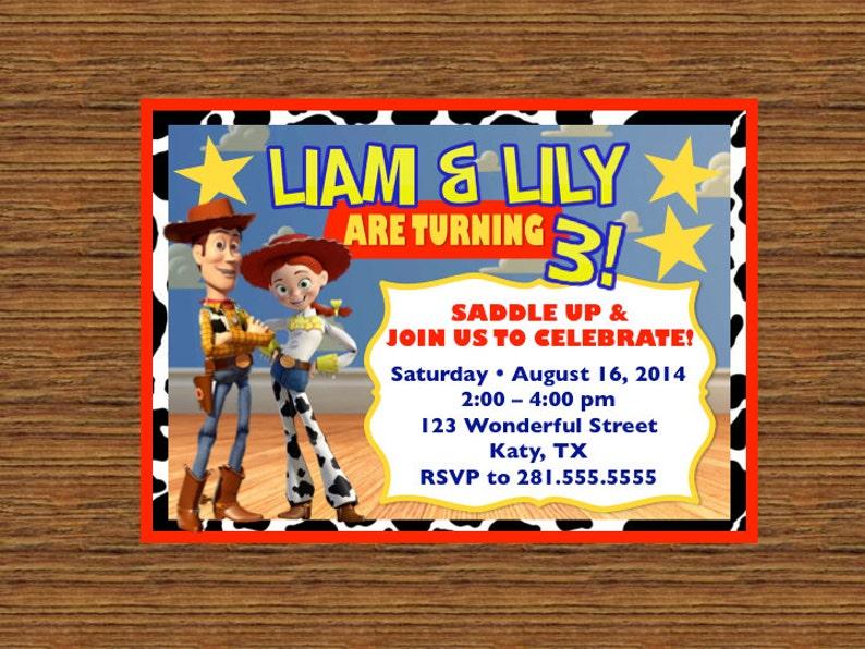Invitacion Para Imprimir De Costumbre Toy Story Cumpleanos Etsy