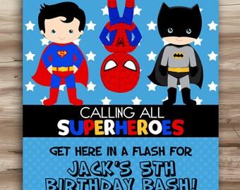 SUPERHERO Birthday Invitation, Superhero Invite, SuperHeroes Birthday, Superman, Spiderman, Batman, Superhero Digital Printable, JPG File