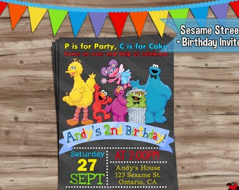 Sesame Street Invitation Sesame Street Birthday Invite Sesame Street Invitation Sesame Street Elmo Invitation Digital Printable, JPG File
