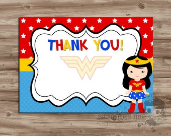 Pre Made BLANK Wonder Woman Thank You Card Coordinates W The WonderWoman Birthday Invitation