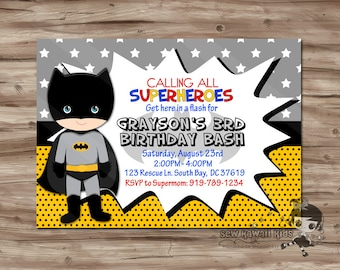 BATMAN Birthday Invitation Personalized Batman Invite Superhero Party Digital Printable JPG File