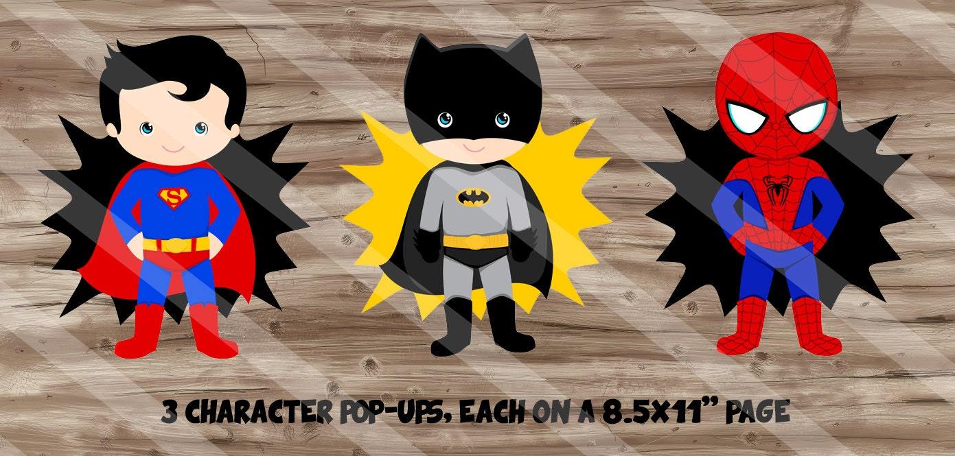 Superhero Birthday Party Supplies DIY Character PopUps Table Centerpiece Decor Wall Art