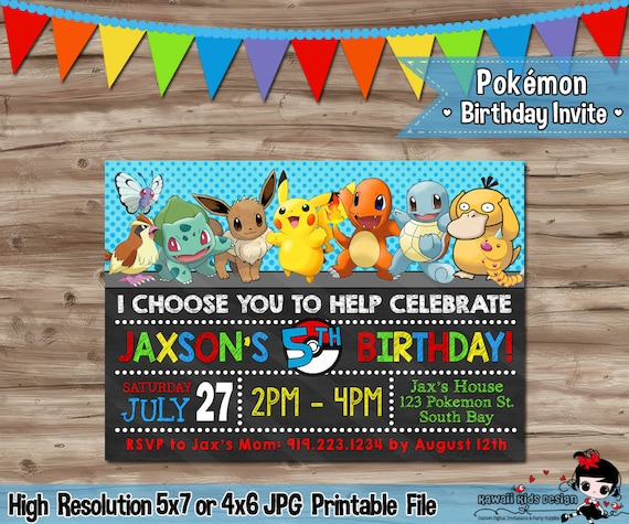 Pokemon Invitation Invite