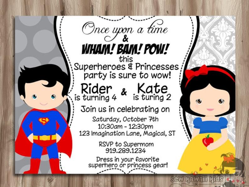 superhero and princess double birthday invitation