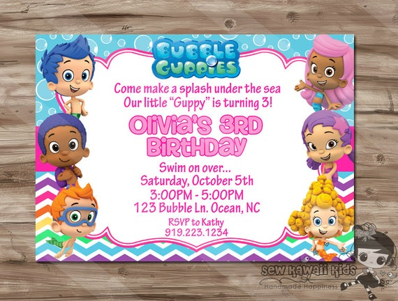 BUBBLE GUPPIES Birthday Invitation Bubble Guppies