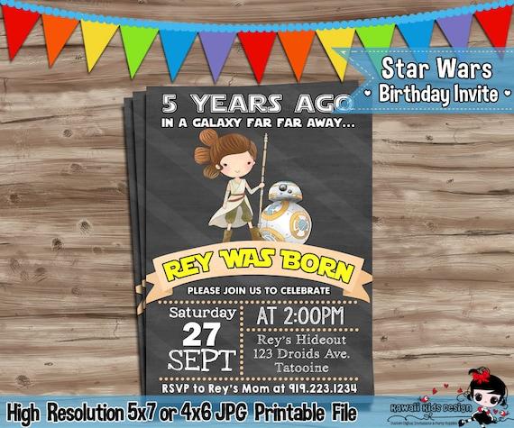 Rey Star Wars Invite