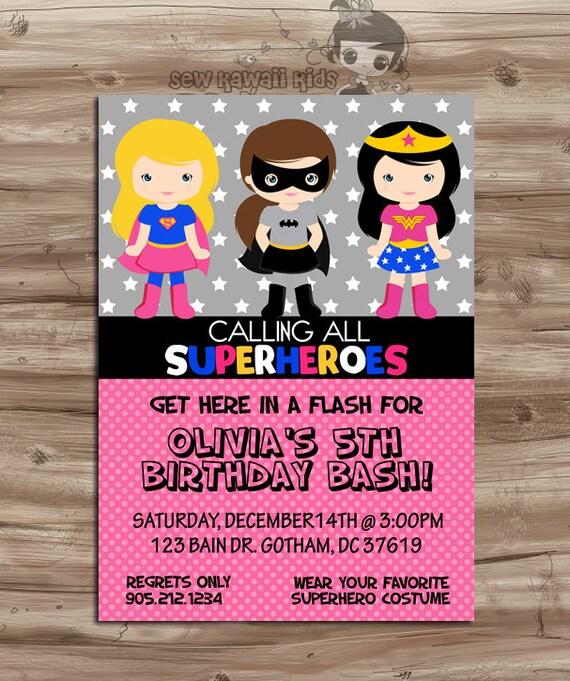 superhero girls invite birthday invitation superheros pink etsy