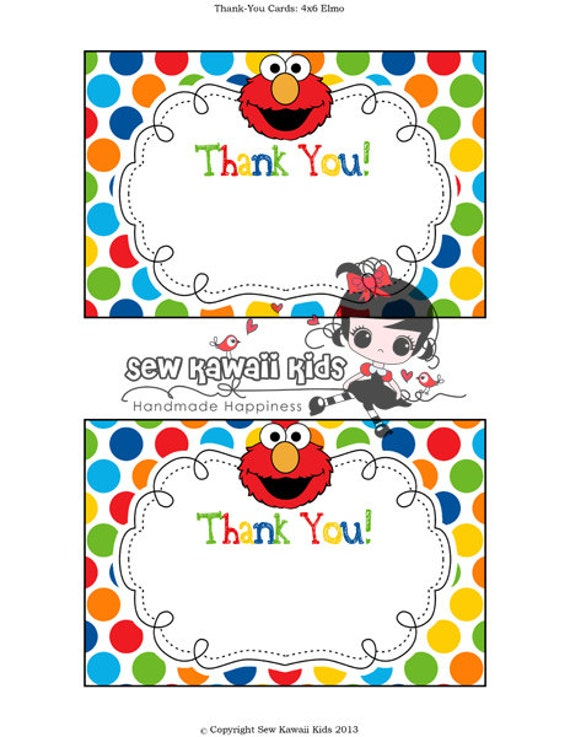 Pre Made Blank Elmo Thank You Card Matches Any Of My Elmo Etsy