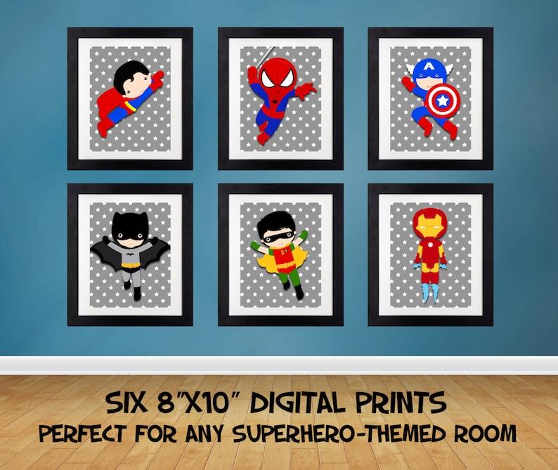 8b8809d82c SALE 25% OFF Superhero Wall Art Superhero Posters Bedroom