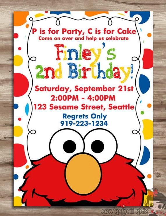 Elmo Invitation Elmo Invitation Elmo Birthday Invite Sesame Etsy