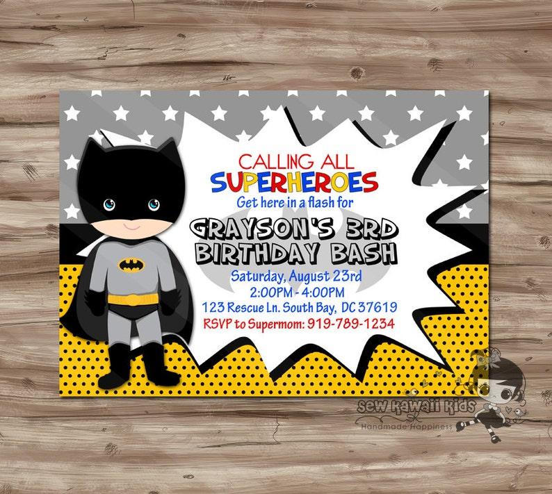 BATMAN Birthday Invitation Personalized Batman Invite