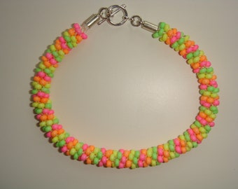 928e4d003eb Neon Rainbow Pink Orange Yellow Green Seed Bead Kumihimo Rope Stripe  Friendship Bangle Bracelet Large Wrist 8.5 Inches Toggle Clasp